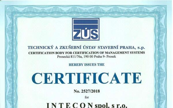 Granting of the Certificate according to Standard EN ISO 9001:2015 to INTECON